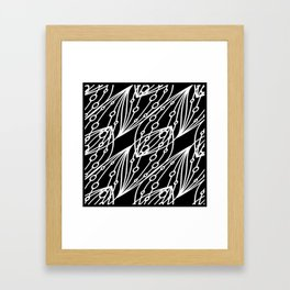 White molecular helix with diagonal circles on a black background. Framed Art Print