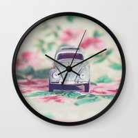 volkswagon Wall Clocks featuring VDub Beetle by Anna Dykema Photography