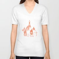 moscow V-neck T-shirts featuring Moscow by OneOneTwo