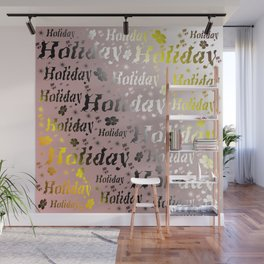 shiny font happy holidays in rose gold Wall Mural