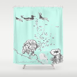 Two Tailed Duck and Jellyfish Mint Green Shower Curtain