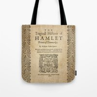 hamlet Tote Bags featuring Shakespeare, Hamlet 1603 by BiblioTee