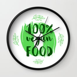 Hand-drawn typographic elements for design. Natural products and vegan food labels Wall Clock