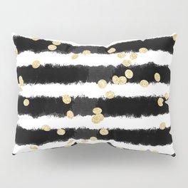 Modern black watercolor stripes chic gold confetti Pillow Sham