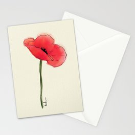 Red Watercolor Poppy Stationery Cards