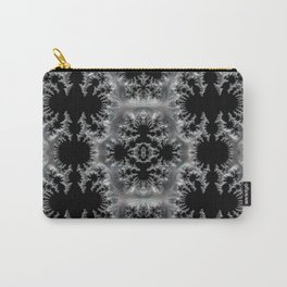 Delicate Silver Filigree on Black Fractal Abstract Carry-All Pouch