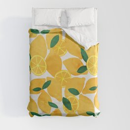 lemon mediterranean still life Duvet Cover