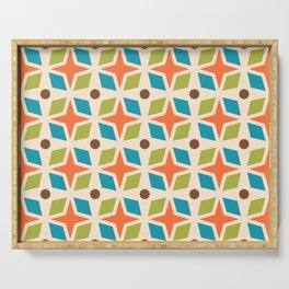 Mid Century Modern Abstract Star Dot Pattern 441 Orange Brown Turquoise Chartreuse Serving Tray