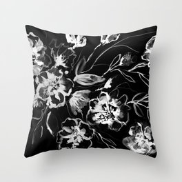 Boldly White - painted ink flowers on black background Throw Pillow