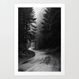 The Dark Path (Black and White) Art Print