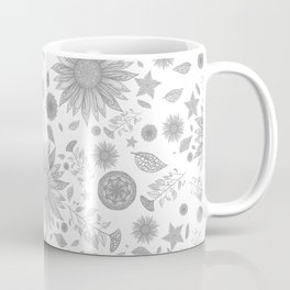 Beautiful Flowers in Faded Gray Black and White Vintage Floral Design Coffee Mug