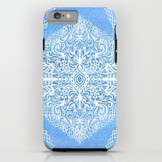 White Gouache Doodle on Pearly Blue Paint Tough Case iPhone 6