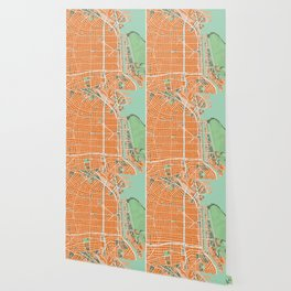 Buenos Aires city map orange Wallpaper