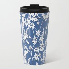 Papercut Garden, blue and white Travel Mug