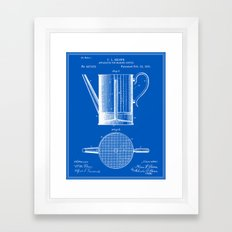 Coffee Press Patent - Blueprint Framed Art Print