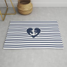 Modern navy blue white heart anchor nautical stripes Rug