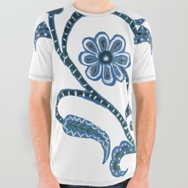 Blue Paisley Heart All Over Graphic Tee