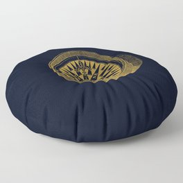 The golden compass I- maritime print with gold ornament Floor Pillow