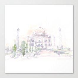 Watercolor landscape illustration_India - Taj Mahal Canvas Print