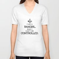 fandom V-neck T-shirts featuring Uncontrollable Fangirl with Fandom Symbol by Oh the Book Feels!