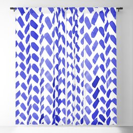 Cute watercolor knitting pattern - blue Blackout Curtain
