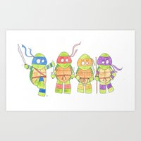 ninja turtles Art Prints featuring Ninja Turtles by Icameisawiateit