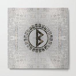 Berkana Rune and Alphabet on Birch Metal Print