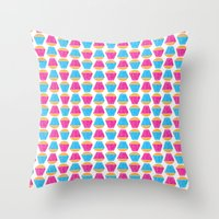 cupcakes Throw Pillows featuring Cupcakes by Apple Kaur