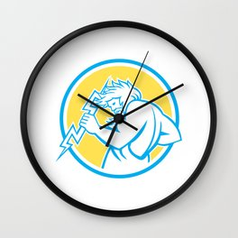Zeus Wielding Thunderbolt Circle Retro Wall Clock