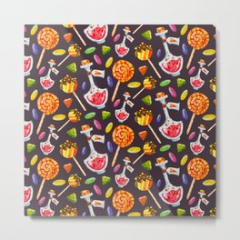 Watercolor Halloween Candy Pattern Metal Print