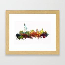 Colored New York City skyline Framed Art Print