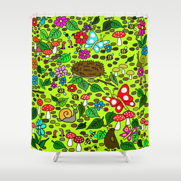 Cartoon Garden Scene Shower Curtain by ejaggerart | Society6