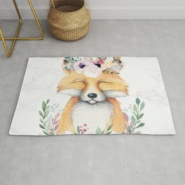 Forest Fox Floral Marble by Nature Magick Rug