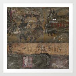 Old Lion (Boro Style) Art Print