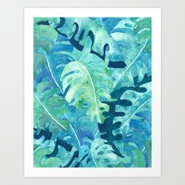 Monstera Leaves   Watercolor Collage in Blue Green Art Print
