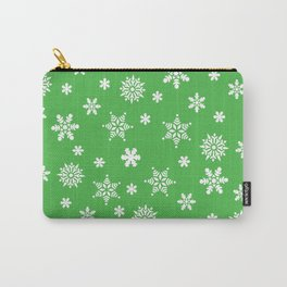 Snow Flurries-Christmassy Green Carry-All Pouch