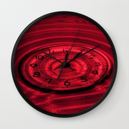 Hands of Time Red Rippling Water Art Motif Wall Clock