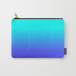 Neon Blue and Bright Neon Aqua Ombré Shade Color Fade Carry-All Pouch