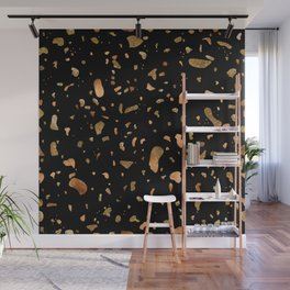 Black terrazzo with gold and copper spots Wall Mural