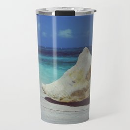 Seashell and seven types of blue ocean in San Andres, Colombia - Fine Art Travel Photography Travel Mug