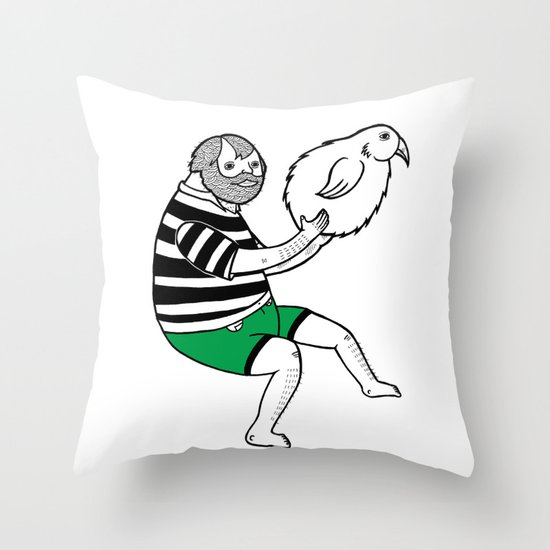 On the strange and controversial topic of bird bowling Throw Pillow