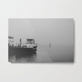 Boat harbor on a misty day 3 - the black and white collection Metal Print