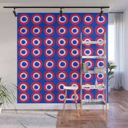 Donut Evil Eye Amulet Talisman - red on blue doughnut Wall Mural