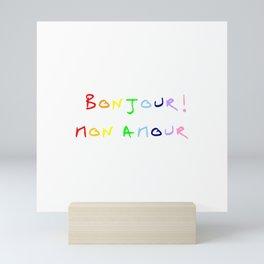 Bonjour mon amour - 3 rainbow Mini Art Print