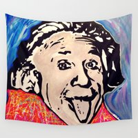 einstein Wall Tapestries featuring Einstein by Paola Gonzalez