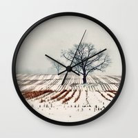 farm Wall Clocks featuring Winter Farm by elle moss