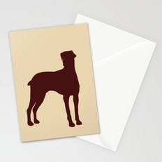 Doberman Dog  with dropping ears Silhouette Stationery Cards