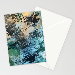 Reflection: an abstract ocean scene in blues, greens, and gold Stationery Cards