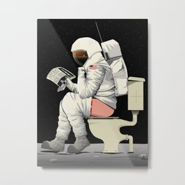 Spaceman On the Toilet Bathroom Restroom Apollo Metal Print