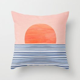 Minimal Sunrise Watercolors Artwork Throw Pillow